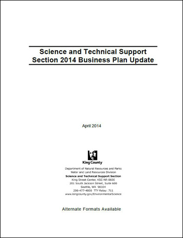 Science and Technical Support Section 2014 Business Plan Update