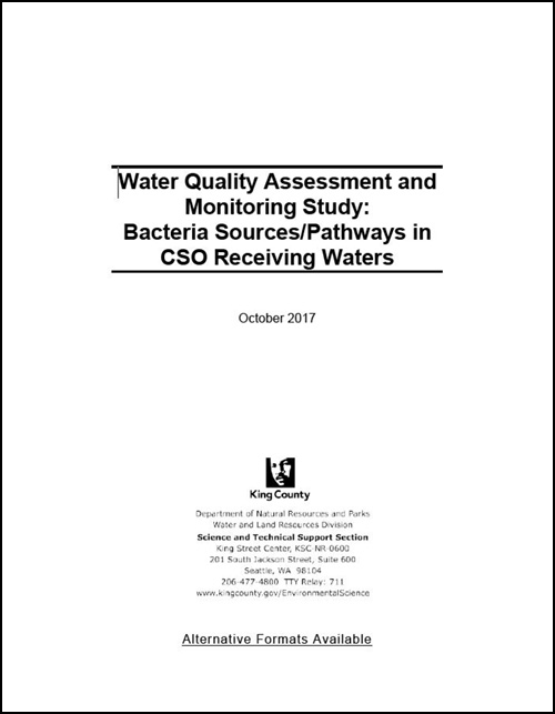 Water Quality Assessment and Monitoring Study: Bacteria Sources/Pathways in CSO Receiving Waters