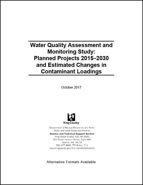 Water Quality Assessment and Monitoring Study: Planned Projects 2015-2030 and Estimated Changes in Contaminant Loadings