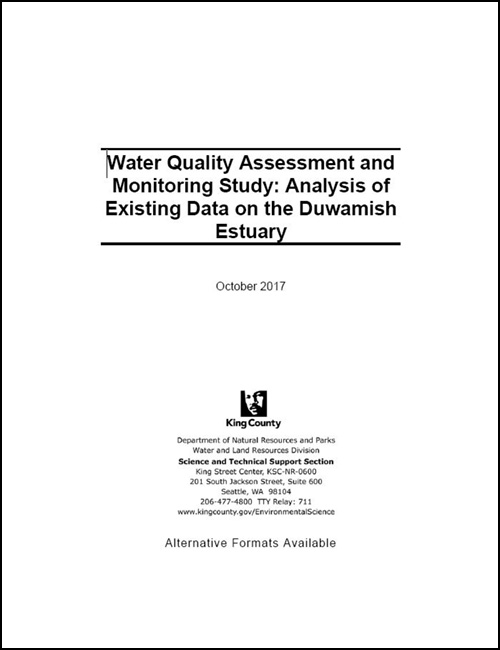 Water Quality Assessment and Monitoring Study: Analysis of Existing Data on the Duwamish Estuary