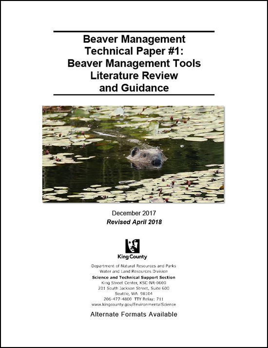 Beaver Management Technical Paper #1: Beaver Management Tools Literature Review and Guidance