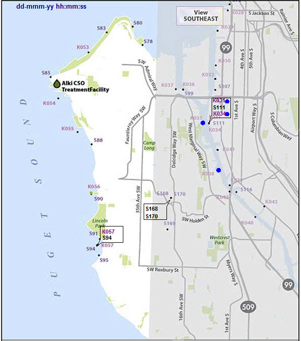 Combined Sewer Overflow Locations: Southwest Seattle