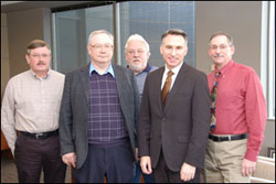 From left, Steve Hiester, Chair, Greater Maple Valley; Paul Berry, President, West Hill; Tom Carpenter, President, Four Creeks; Executive Constantine; Greg Duff, President, North Highline. Not pictured but attending was Nancy Stafford, Vice President, Upper Bear Creek