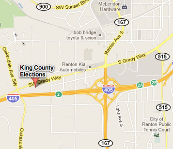 Map to King County Elections office in Renton