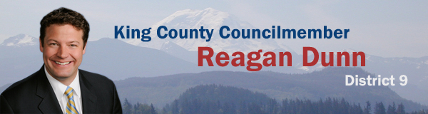 Dist 9 banner with image of King County Councilmember Reagan Dunn